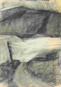 Ullapool, landscape drawing by artist Manna Dobo, Scotland