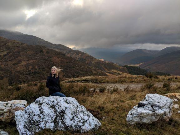 Ute overlooking Glen Lyon Scottish Highlands